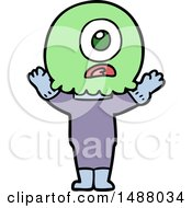 Cartoon Cyclops Alien Spaceman by lineartestpilot
