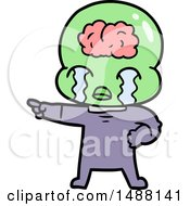 Cartoon Big Brain Alien Crying And Pointing