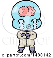Cartoon Big Brain Alien Crying