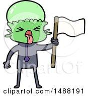 Weird Cartoon Alien Waving Flag by lineartestpilot