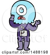 Worried Cartoon Cyclops Alien Spaceman