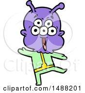 Happy Cartoon Alien Dancing by lineartestpilot