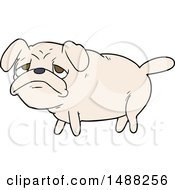 Cartoon Unhappy Pug Dog