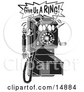 Ringing Black And White Wall Telephone