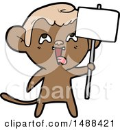 Crazy Cartoon Monkey With Sign