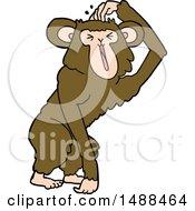 Poster, Art Print Of Cartoon Chimp Scratching Head