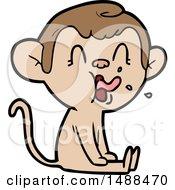 Crazy Cartoon Monkey Sitting by lineartestpilot