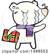 Cartoon Crying Christmas Polar Bear