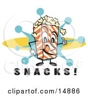 Popcorn Carton Character Filled With Buttery Popcorn Pointing Down At Text Reading Snacks At A Movie Theater by Andy Nortnik