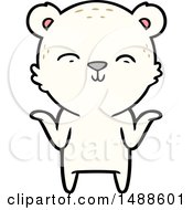 Happy Cartoon Polar Bear Shrugging Shoulders