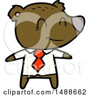 Cartoon Bear In Shirt And Tie by lineartestpilot