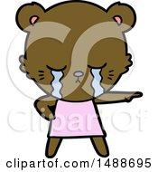 Crying Cartoon Bear In Dress Pointing