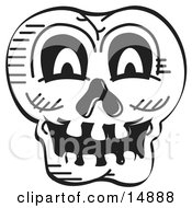 Scary Halloween Skull Black And White Clipart Illustration by Andy Nortnik