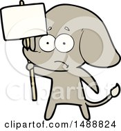 Cartoon Unsure Elephant With Protest Sign