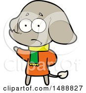 Cartoon Unsure Elephant In Scarf