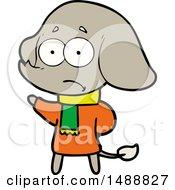 Cartoon Unsure Elephant In Scarf