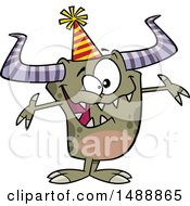 Cartoon Monster Wearing A Party Hat And Welcoming
