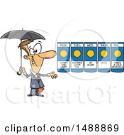 Cartoon Weather Man Presenting A Forecast Of Sunny Days And Holding An Umbrella