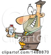 Cartoon Salesman Pitching Snake Oil