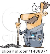 Cartoon Caretaker Or Janitor Custodian Man With A Mop