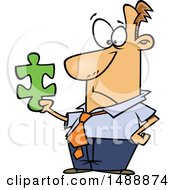 Clipart Of A Cartoon Business Man Holding A Puzzle Piece Royalty Free Vector Illustration