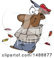 Clipart Of A Cartoon Happy Man Taking An Autumn Stroll Royalty Free Vector Illustration