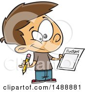 Clipart Of A Cartoon Boy Writing Up A Budget Royalty Free Vector Illustration