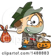 Cartoon Boy Trick Or Treating On Halloween As A Hobo