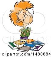 Cartoon Girl Hugging A Book On A Pile