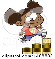 Clipart Of A Cartoon Girl Running Up A Stack Of Coins Royalty Free Vector Illustration