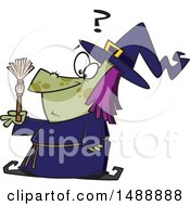 Clipart Of A Cartoon Witch Looking At A Tiny Broom Royalty Free Vector Illustration