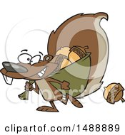 Cartoon Squirrel Gathering Acorns