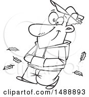 Clipart Of A Cartoon Lineart Happy Man Taking An Autumn Stroll Royalty Free Vector Illustration