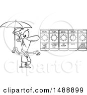 Cartoon Outline Weather Man Presenting A Forecast Of Sunny Days And Holding An Umbrella