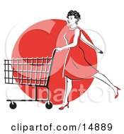 Young Woman In A Red Dress And High Heels Walking And Pushing A Shopping Cart In Front Of A Red Circle Clipart Illustration