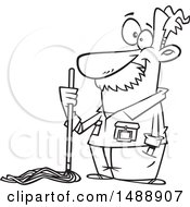 Cartoon Outline Caretaker Or Janitor Custodian Man With A Mop