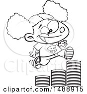 Cartoon Outline Girl Running Up A Stack Of Coins