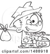 Cartoon Outline Boy Trick Or Treating On Halloween As A Hobo