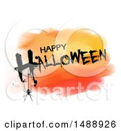 Grungy Happy Halloween Greeting Over Orange Watercolor On White