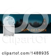 Clipart Of A Happy Halloween Social Media Banner With A Haunted House Royalty Free Vector Illustration