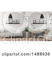 Clipart Of A 3d Office Interior Royalty Free Illustration