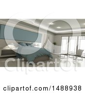 Clipart Of A 3d Bedroom Interior Royalty Free Illustration