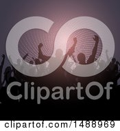 Clipart Of A Silhouetted Concert Crowd Royalty Free Vector Illustration