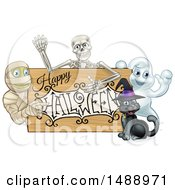 Clipart Of A Happy Halloween Sign With A Witch Cat Ghost Skeleton And Mummy Royalty Free Vector Illustration by AtStockIllustration