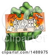 Clipart Of A Green Zombie Hand Holding A Happy Halloween Card Royalty Free Vector Illustration by AtStockIllustration