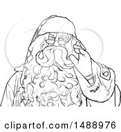 Clipart Of A Black And White Santa Waving Royalty Free Vector Illustration
