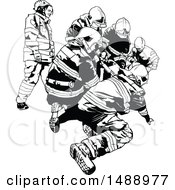 Clipart Of A Black And White First Responder Team Royalty Free Vector Illustration