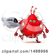 Clipart Of A 3d Red Germ Virus Monster On A White Background Royalty Free Illustration