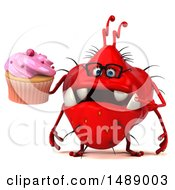 Clipart Of A 3d Red Germ Virus Holding A Cupcake On A White Background Royalty Free Illustration