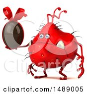 Clipart Of A 3d Red Germ Virus Holding A Chocolate Egg On A White Background Royalty Free Illustration